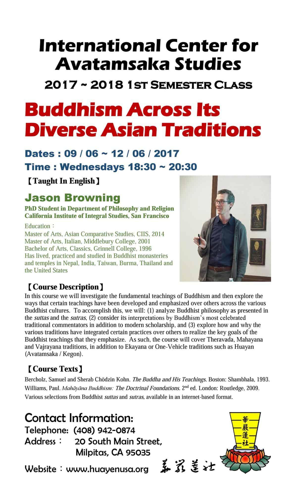 Buddhism Course Flyer – ICAS – 美國華嚴蓮社